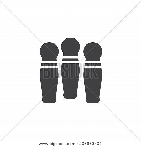 Bowling pins icon vector, filled flat sign, solid pictogram isolated on white. Symbol, logo illustration.