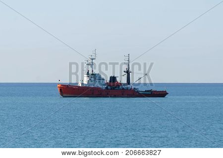 a red tugboat in the Black sea