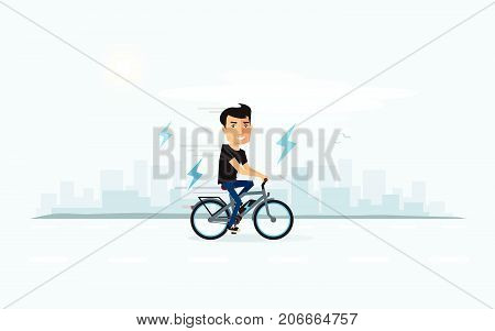 Smiling Man On Electric Bicycle With City Skyline Background