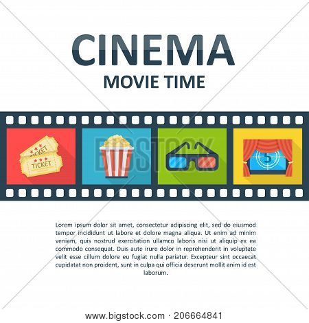 Cinema background template. Movie time poster, tickets, theater locations, showtimes, trailers information mockup. Vector flat style cartoon illustration isolated on white background