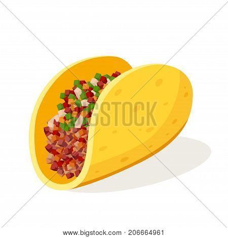 Tacos single object. Traditional Mexican dish, wheat tortilla folded or rolled with tasty filling. Vector flat style cartoon illustration isolated on white background