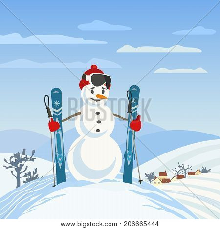 Snowman rural skier in mountain valley. Man from snow balls with mountain ski sport equipment. Playful colorful cartoon. Winter scenic outdoors background. Frozen nature season vector illustration