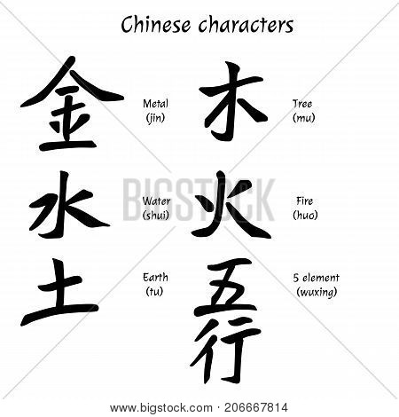 Chinese characters. Metal, Water, Earth, Tree, Fire, 5 element. Vector illustration.