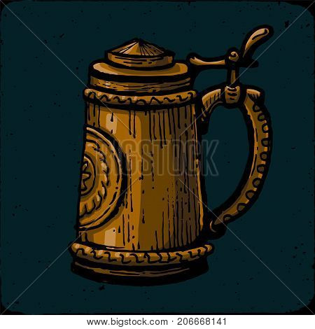 Retro style beer mug, cup or glass engraving. Porter, stout, red ale, amber ale, craft beer, light beer, lager, Indian pale ale, American pale ale. Bronze beer mug in the Gothic style. Local brewery. Vintage vector engraving illustration for web, poster,