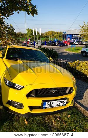 Prague, Czech Republic - September 29: Ford Mustang Car In Front Of Ford Motor Company Dealership Bu