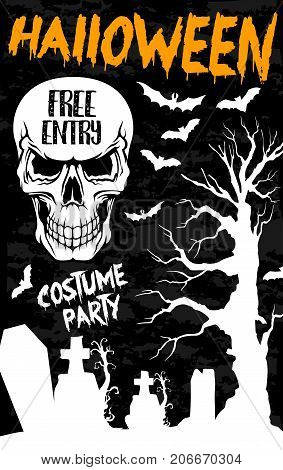 Halloween holiday banner with horror skull. Spooky skeleton with bat, graveyard, creepy tree and gravestone white silhouette for Halloween night party poster or invitation flyer design