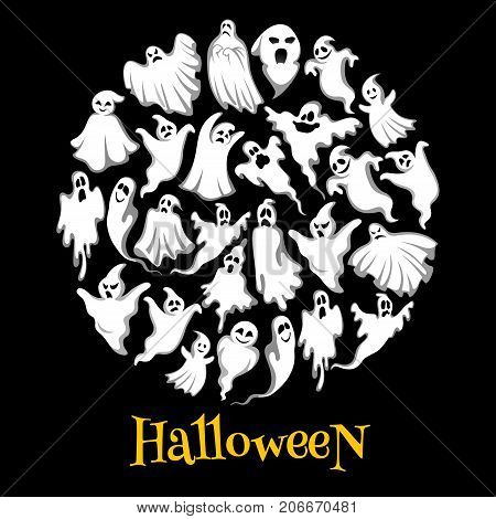 Halloween ghost or holiday spirit round poster. Scary ghost, spooky night monster, funny poltergeist and flying phantom banner for Halloween holiday party decoration or greeting card design