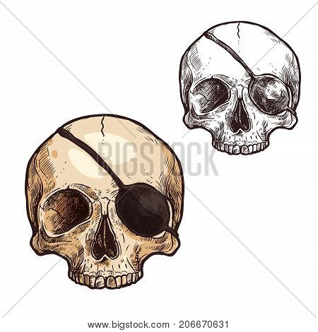 Halloween skull scary skeleton sketch icon. Vector dead zombie scary head with pirate eyepatch. Isolated symbol of Halloween horror holiday party and trick or treat holiday celebration