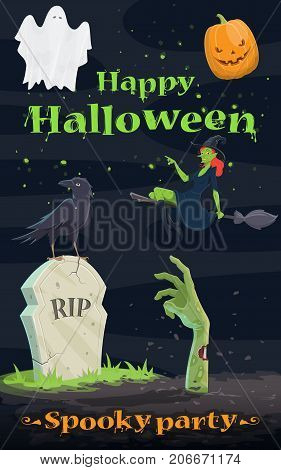 Halloween pumpkin and ghost greeting banner. Spooky Halloween lantern, flying ghost and witch, cemetery grave with zombie hand and RIP gravestone for october holiday night party invitation design