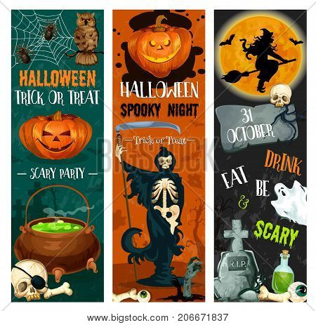 Halloween trick or treat night and spooky party sketch banners of pumpkin Jack lantern and zombie monsters. Vector Halloween witch on moon, tombstone and skeleton skull on grave or happy spooky ghost