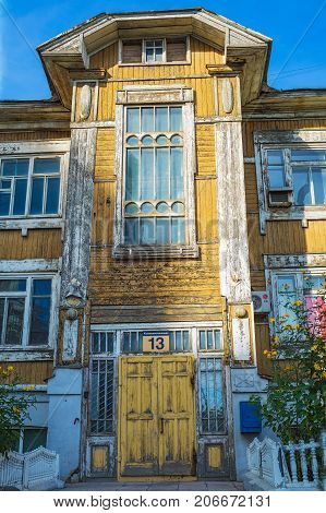 Novosibirsk Siberia Russia - 17 September 2017: two-story log house a monument of wooden architecture (built in the early 1910) the Communist street No. 13