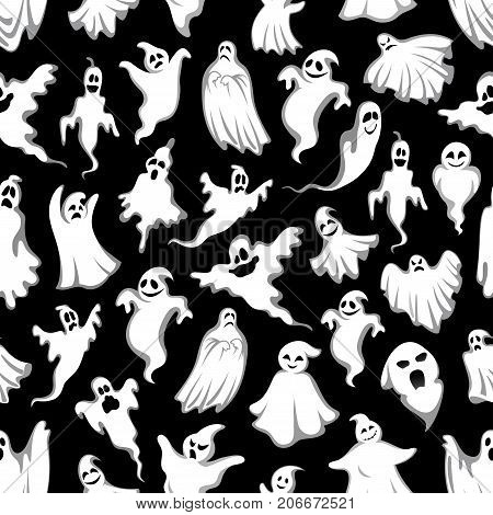 Spooky ghost Halloween holiday seamless pattern background. Horror night monster backdrop of flying phantom and poltergeist with scary skull for Halloween holiday greeting card or invitation design