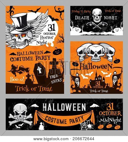Halloween night greeting banners or horror holiday costume party posters. Vector skull on bones in graveyard cemetery, orange moon and Halloween pumpkin lantern, scary black cat and skeleton zombie
