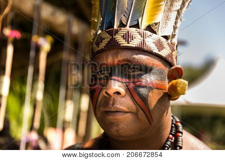 Indigenous man from Tupi Guarani tribe in Brazil