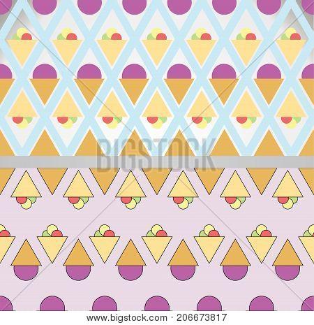 Ice seamless background. Vector icecream pattern illustration