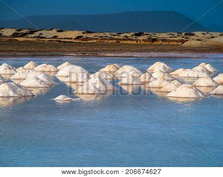 Salt in water, evaporating ponds in Africa