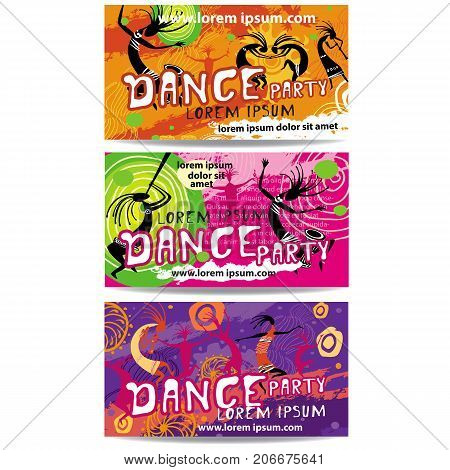 Set of Templates of Dance Party flyers