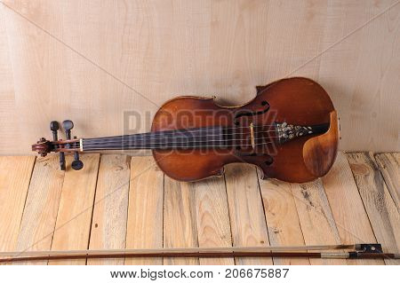 violin image .old brown stringed wooden instrument isolated on the white background