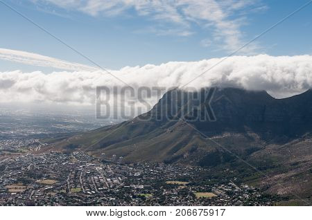 View of Cape Town South Africa from Table mountain ocean city