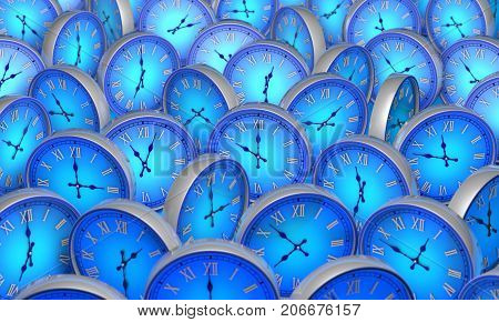 Many blue circular clock. Available in high-resolution and several sizes to fit the needs of your project. 3D illustration rendering.
