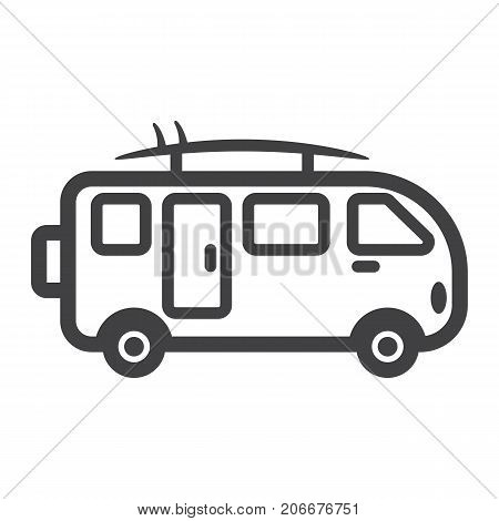 Surfer van line icon, transport and vehicle, camper bus sign vector graphics, a linear pattern on a white background, eps 10.