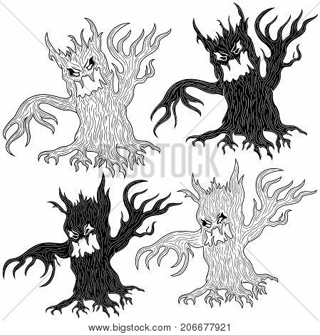 Four Halloween Angry Evil Tree