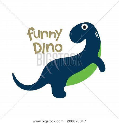 Cute cartoon dino vector illustration. Funny dino
