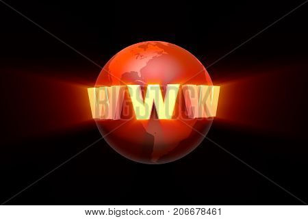 Globalization. Creation and promotion of the website (image metaphor). 3D illustration rendering.