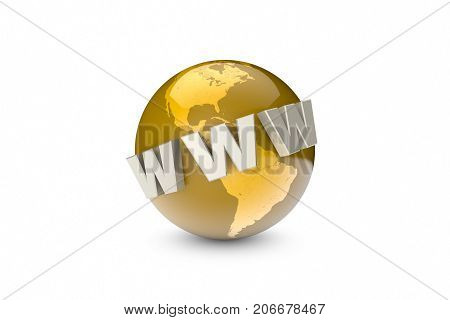 Globalization. International communication system. Creation and promotion of the website (image metaphor). Background layout with free text space. 3D illustration rendering.