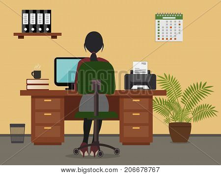 Workplace of office worker. The woman is an employee at work, she is sitting at a desk. There is a printer, a flower, a shelf with folders and other objects in the picture. Vector flat illustration
