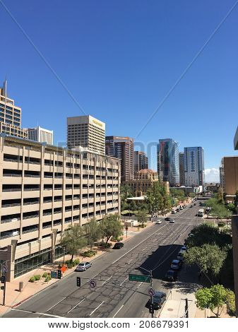 PHOENIX AZ USA - SEPTEMBER 28 2017: Phoenix downtown Jefferson Street going East