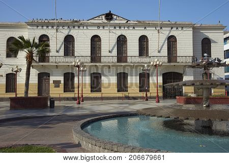 Historic railway station in the coastal city of Arica in northern Chile
