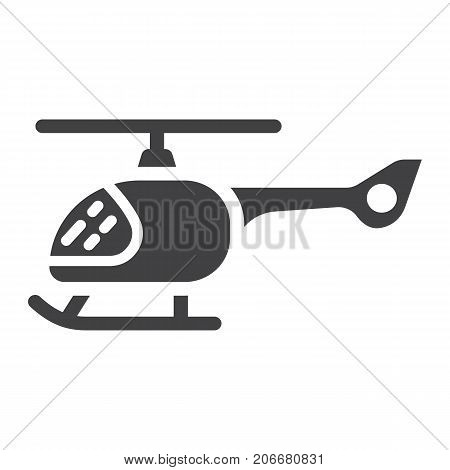 Helicopter glyph icon, transport and air vehicle, aircraft sign vector graphics, a solid pattern on a white background, eps 10.