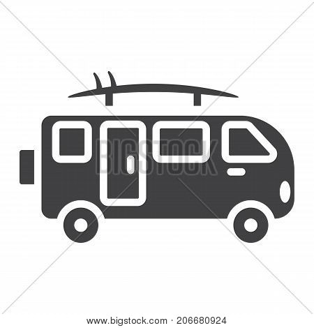 Surfer van glyph icon, transport and vehicle, camper bus sign vector graphics, a solid pattern on a white background, eps 10.