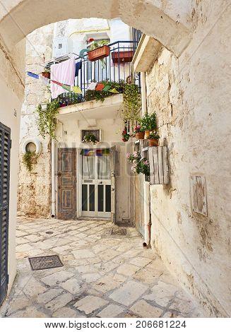 Street Of Polignano A Mare. Apulia.