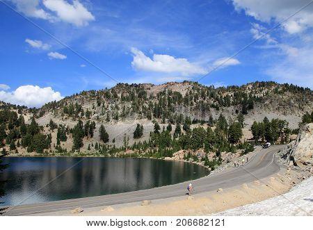 Lake in Lassen Volcanic National park in California, USA