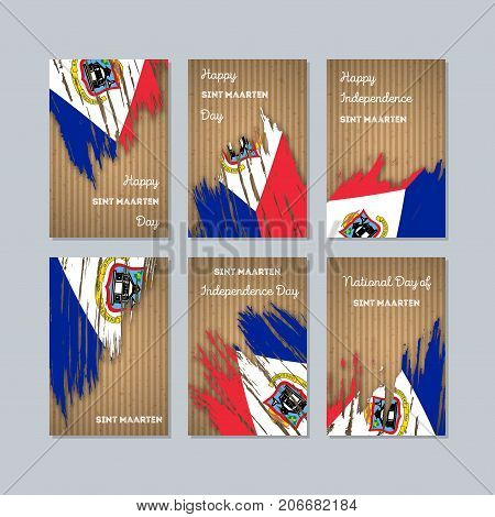 Sint Maarten Patriotic Cards For National Day. Expressive Brush Stroke In National Flag Colors On Kr