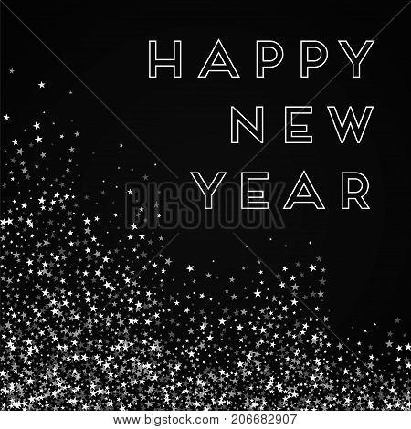 Happy New Year Greeting Card. Amazing Falling Stars Background. Amazing Falling Stars On Red Backgro