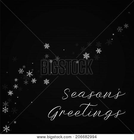 Season's Greetings Greeting Card. Sparse Snowfall Background. Sparse Snowfall On Red Background.love