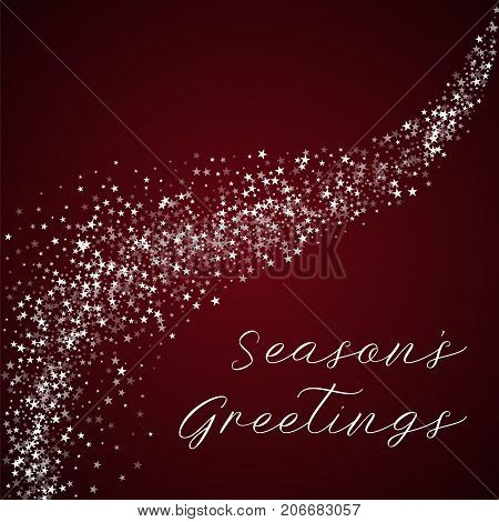 Season's Greetings Greeting Card. Amazing Falling Stars Background. Amazing Falling Stars On Red Bac