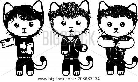 Vector modern fashionable dressed cats. Part 4.