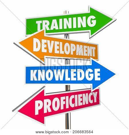 Training Development Knowledge Proficiency Arrow Signs 3d Illustration