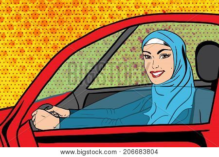 Vector pop art comic retro style illustration of islamic beautiful woman in hijab driving car. Concept of allowance for saudi women to drive