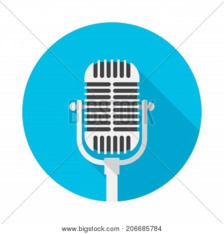 Old microphone circle icon with long shadow. Flat design style. Microphone simple silhouette. Modern minimalist round icon in stylish colors. Web site page and mobile app design vector element.