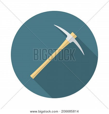 Pickaxe circle icon with long shadow. Flat design style. Pick axe simple silhouette. Modern minimalist round icon in stylish colors. Web site page and mobile app design vector element.