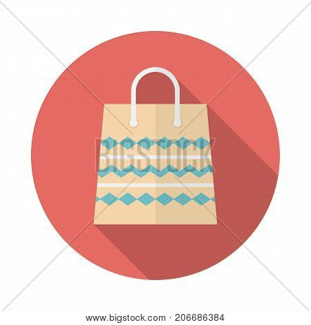 Shopping bag circle icon with long shadow. Flat design style. Paper bag simple silhouette. Modern minimalist round icon in stylish colors. Web site page and mobile app design vector element.