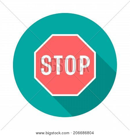 Stop sign circle icon with long shadow. Flat design style. Stop sign drive simple silhouette. Modern minimalist round icon in stylish colors. Web site page and mobile app design vector element.