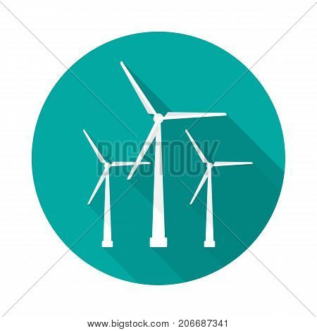 Wind turbine circle icon with long shadow. Flat design style. Windmill simple silhouette. Modern minimalist round icon in stylish colors. Web site page and mobile app design vector element.