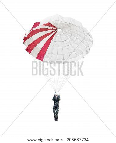 Model paratrooper of a military paratrooper isolated on white background.