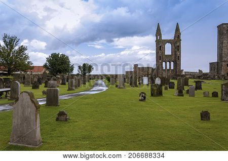 The ruins of St Andrews Cathedral in St Andrews Fife Scotland; Concept for travel in Scotland
